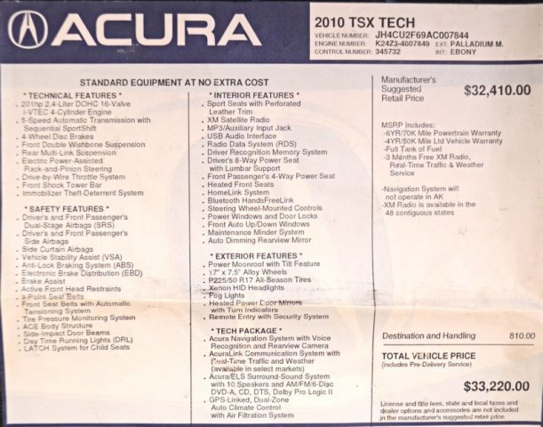 Pre-Owned 2010 Acura TSX Tech Pkg